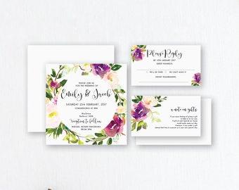 Garden Wedding Invitations - Floral Wedding Invites - Watercolour Invitations - Wedding Stationery - Spring Watercolour - Purple