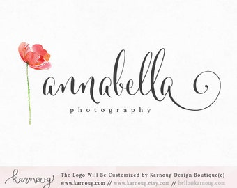 Flower Logo|Watercolor Logo|Poppy Logo|Photography Logo|Boutique Logo|Premade Logo|Watermark Logo|Business Logo|Branding Logo|digital logo