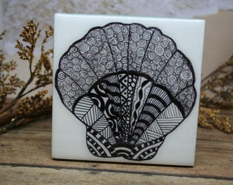 Drink Coasters, Table Coasters, Ceramic Coasters, Tile Coasters, Seashell Coasters, Hand Drawn Coasters,  Set of 4