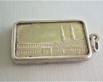 Great Mosque of Mecca Ingot Pendant-Vintage Fine 999 Silver Half Ounce Bar-Sterling Frame Mount-SUISSE PAMP Bullion-Collectible Bar Jewelry