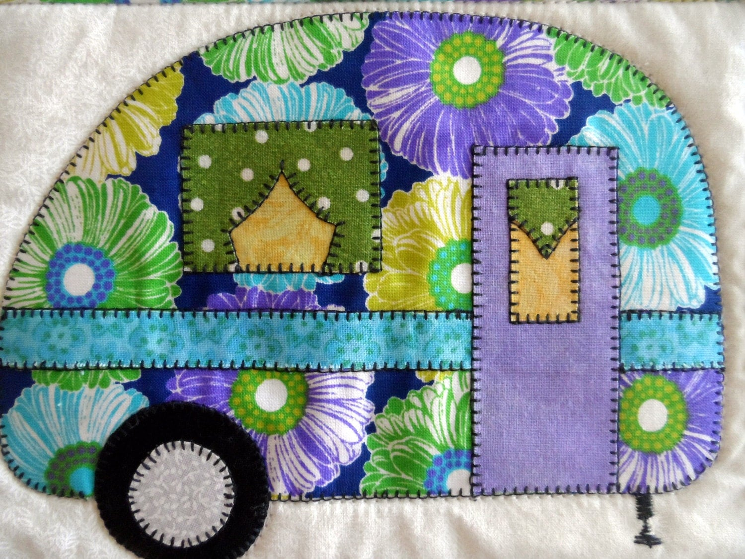 Vintage camper applique pattern instant download retro for Applique vintage