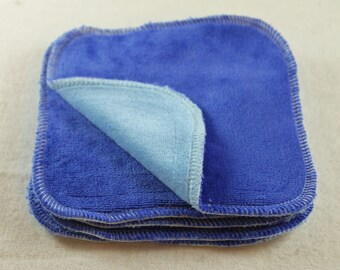 "2-ply Bamboo Velour 5"" x 5"" Wipes - Blue"