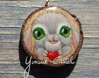 """Pendant """"Bunny"""" - wood, paint, unique, grip, jewel, rabbit, heart"""