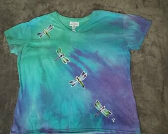 Plus Size-XXL or XXXL Cotton Shirt Batiked with DRAGONFLIES