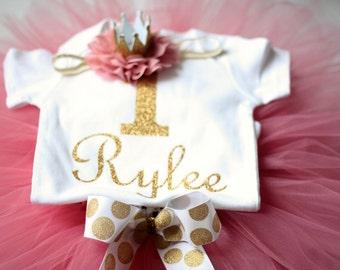 First Birthday Outfit, Cake smash outfit, dusty rose birthday outfit, gold birthday outfit