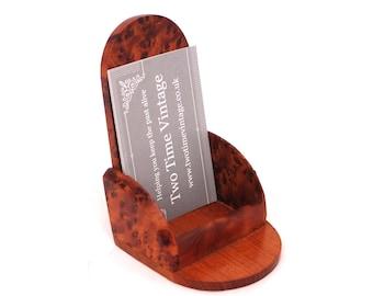Vintage Burr Walnut Business Card Holder, Wooden Business Card Holder, Desktop Walnut Wood Card Holder, Wooden Office Decor