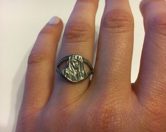 Vintage Sterling Silver Virgin Mary Ring