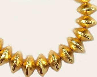 14mm Rondelles Brushed Gold, 14mm x 8mm, 13 Beads, Anti Tarnish, 24K Gold Plated Copper - GPC003