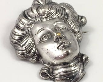 """Large Edwardian """"Gibson Girl"""" Silverplate Pin Circa 1890 -1910"""