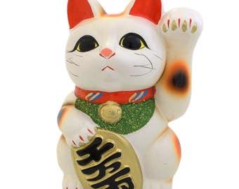 From Japan Beckoning Cat for Good Luck  Ceramic Manekineko