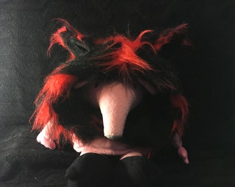 SALE Red and Black faux fur Hood (No Tassels!)