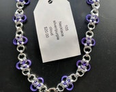 Silver and purple cloud necklace