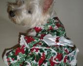 Cotton Christmas floral Christmas dog  dress . Custom fit harness  dog christmas dress