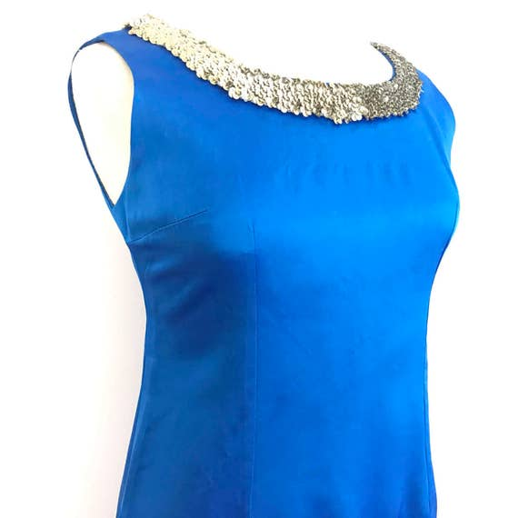 1950s vintage dress electric blue duchess satin sequin silver trim glitter evening dress early 1960s long gown UK 10 12 midi length