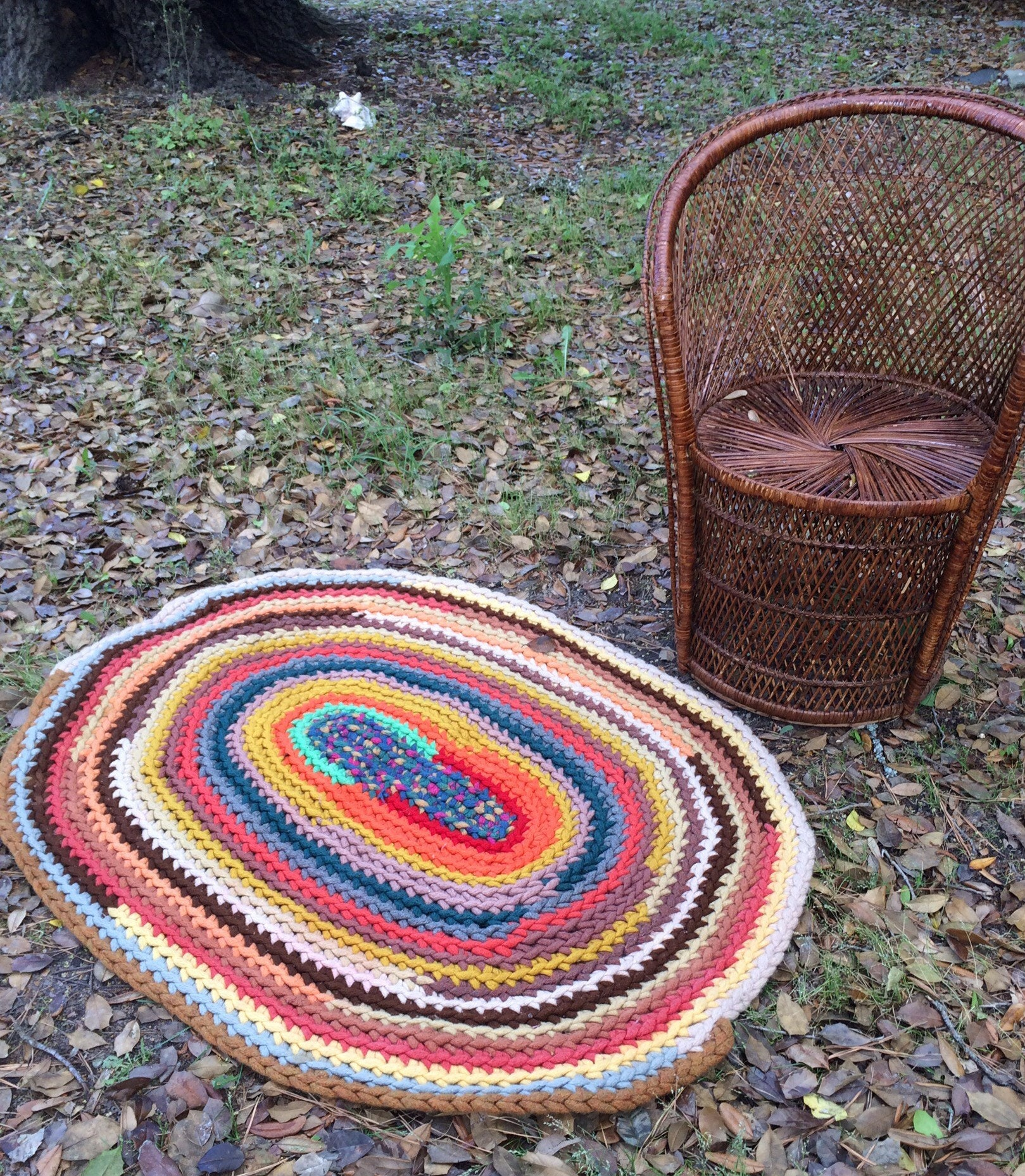 Retro 70's Braided Rag Rug 48