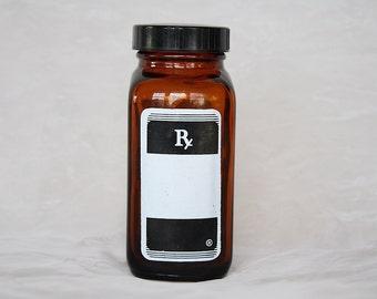 Vintage Apothecary Jar - Vintage Pharmacy Bottle - Amber Glass Bottle - Glass Bottle - Apothecary Bottle - Medical Decor -Rx Medicine Bottle