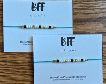 BFF Morse Code Bracelets - Custom Friendship Bracelet - Waterproof