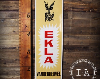 Vintage Porcelain Enamel Ekla Vandenheuvel Belgian Beer Advertising Sign