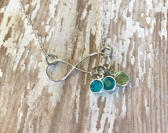 Infinity Birthstone Necklace, Eternity Pendant with Birthstone Charms, Gift for Mom, Gift for Her, Personalized Mother's Necklace