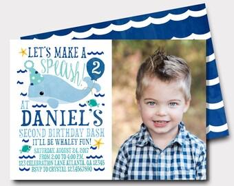 Whale Birthday Invitation | Under The Sea Birthday Invitation | Ocean Birthday Invitation | Fish Birthday Invitation | First Birthday