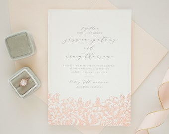 Foil Stamped Wedding Invitations, Romantic Invitations with Rose Gold Flowers, Invitation with Rose Gold Foil Stamping, SAMPLES | Enchanted