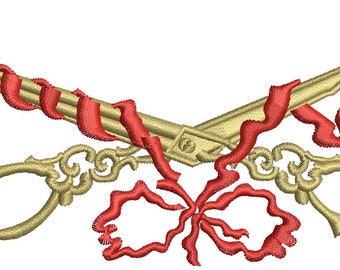 Scissors and ribbon Machine Embroidery Design instant download