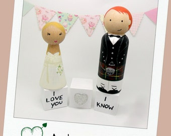 Bride & Groom Cake topper, Scottish Wedding, Tartan, Bride and Groom Peg doll, Wedding Cake Topper
