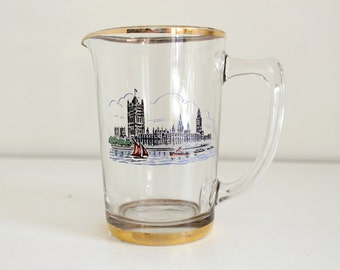 Vintage Glass Jug, London Souvenir, Houses of Parliament, Milk Jug, Vintage Kitchen, Gift, Decorative Jug, Vintage Decor
