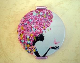 Pocket mirror -  Pocket mirror art - Printed pocket mirror - Hand mirror