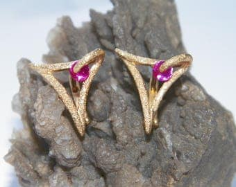 Handcrafted 18K Gold Plated .925 Sterling Silver Hoop Earrings Stardust Finish