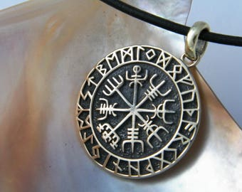 Handcrafted Oxidized Brass Pendant with Celtic Runes with Natural Black Leather Cord Necklace