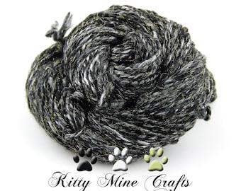 Winter Solstice Handspun Yarn - 2ply Yarn - 143 yds - Superfine Merino, Rose Fiber, Stellina - Knitting Supplies - Sparkle