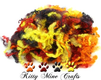 Fire Colored Wensleydale Wool Locks - 2oz - Doll Hair, Spinning, Felting - Hand Dyed - 4-5 inches - Red, Orange, Yellow, Purple/ Black