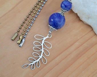 Blue beaded ceiling fan pull, light pull, ball chain pull, silver leaf light pull, lighting decor, home decor.