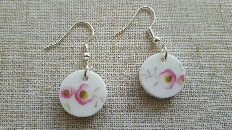 Beautiful hand cut vintage broken china earrings