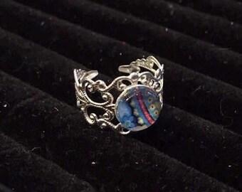 10mm SkyBlue Mandala Filigree Adjustable Ring