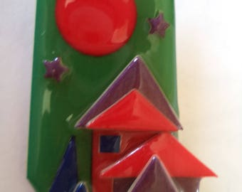 Fabulous Lucinda Large Red Houses Brooch/Pin