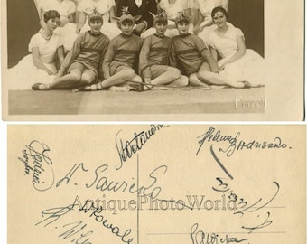 Theater dance group women in fantastic costumes antique rppc photo