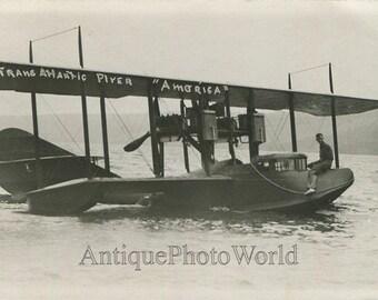 Hydrpolane airplane Curtiss America transatlantic flight antique rppc photo