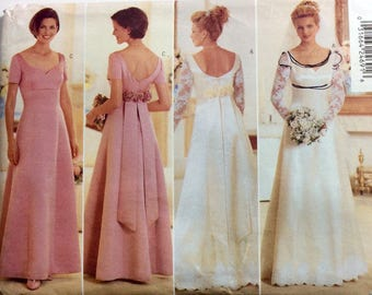 Butterick 4772 Wedding Gown, Bridesmaids' Dress, Prom Dress, Evening Gown Pattern, Size 12, 14, 16, Vintage Uncut Pattern
