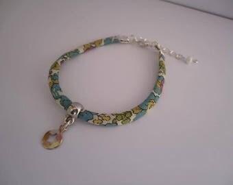 Liberty bracelet with a silvery charm - Gypsy chic jewelry - Bonhemian style