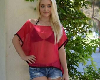Hot pink Silk top, beach coverup top, silk blouse
