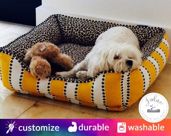 Yellow and Brown Leopard Dog Bed | Cheeta, Stripe, Yellow, Brown | Washable and High Quality