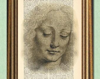 DA VINCI GIRL - Dictionary Art - Wall Art - Printed Antique Book Page -