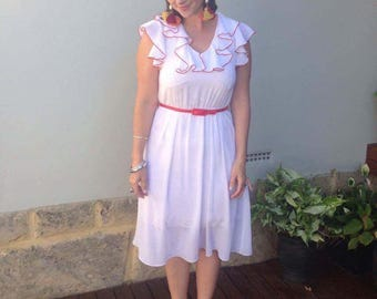 Vintage white and red polka dot dress