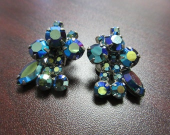 Aurora Borealis Rhinestone Clip On Earrings