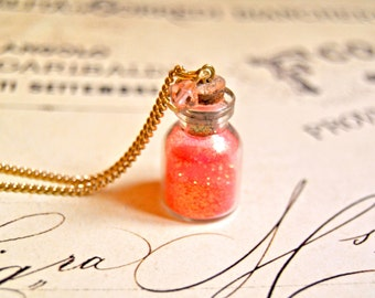 Pretty fluo coral sparkles bottle necklace, glass bottle necklace, vial necklace, coral necklace