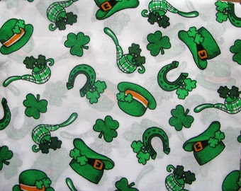 St Patricks Day Fabric Cotton 2 YDS Remnant St Paddy's Irish Green White Shamrocks Leprechaun  Luck of the Irish Pipes Crafts Quilting