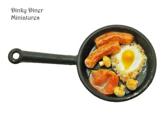 Full English Breakfast Pan (Small) - Miniature 1:12 Scale Food