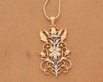 """Flower and Wheat Pendant and Necklace Hand Cut, 14 Karat Gold and Rhodium Plated, 1 5/8th"""" Diameter, ( # 612 )"""